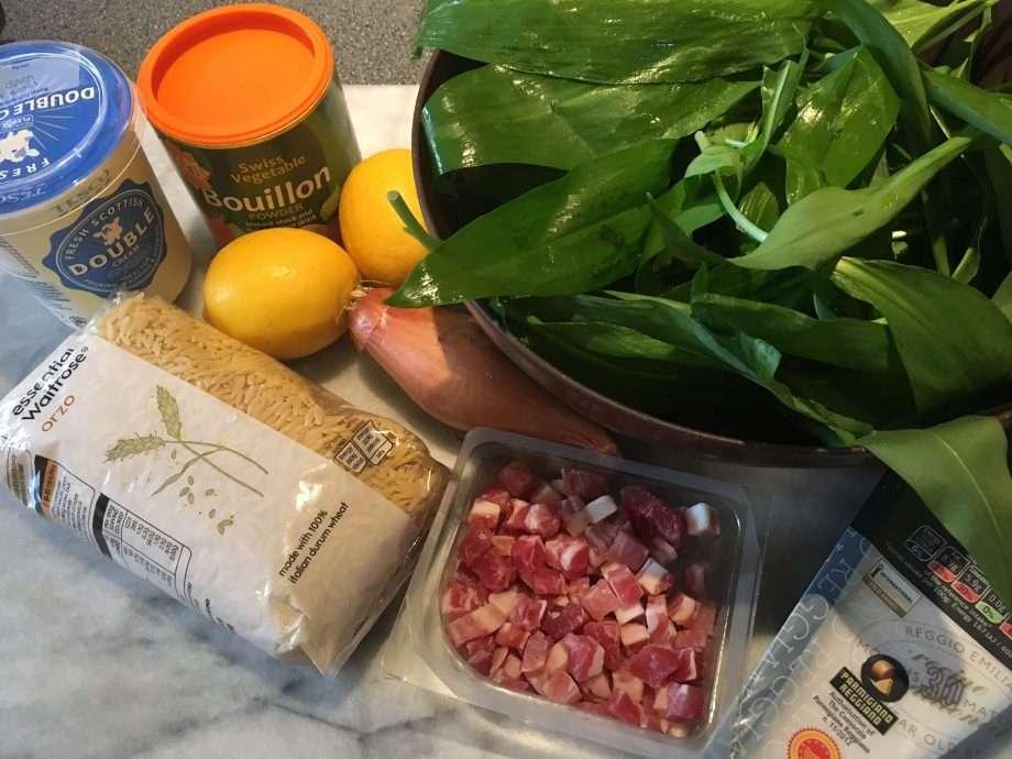 Lemon and wild garlic orzo risotto