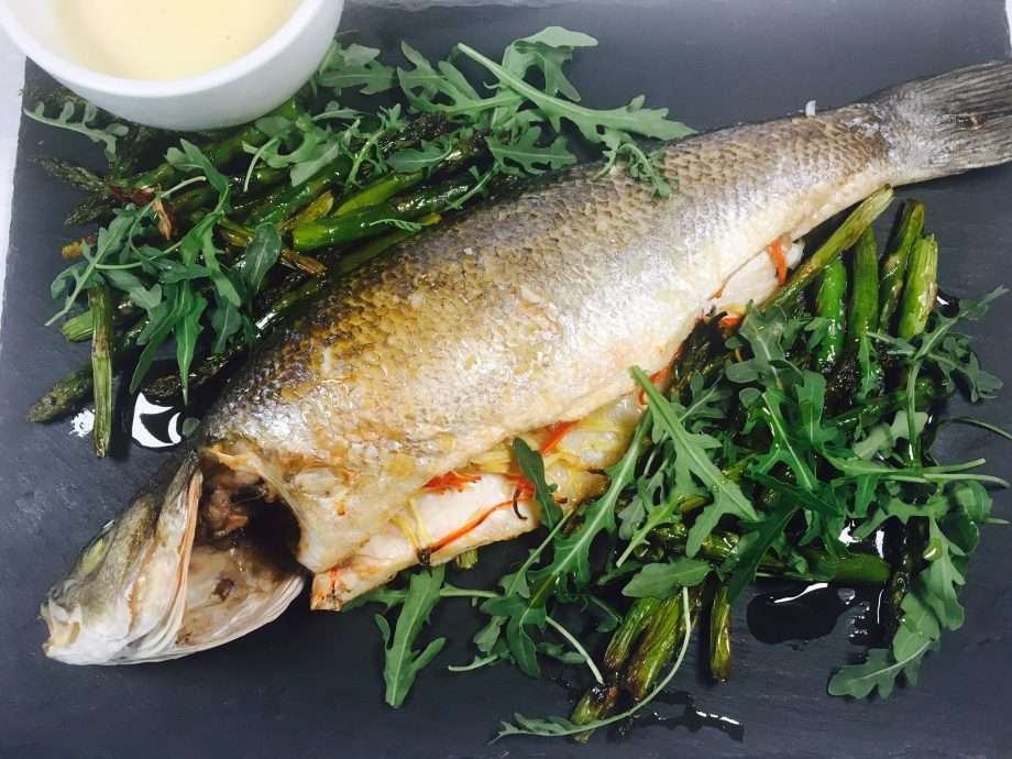 Sea bass with ginger, chilli and roasted asparagus
