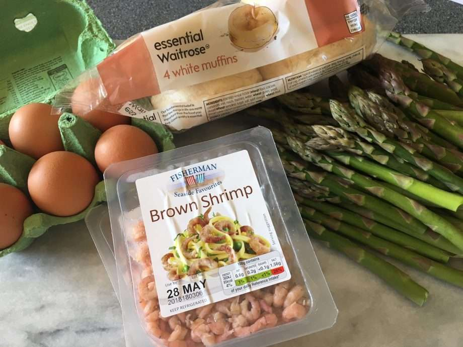 The perfect scrambled eggs with brown shrimps and truffle-infused asparagus