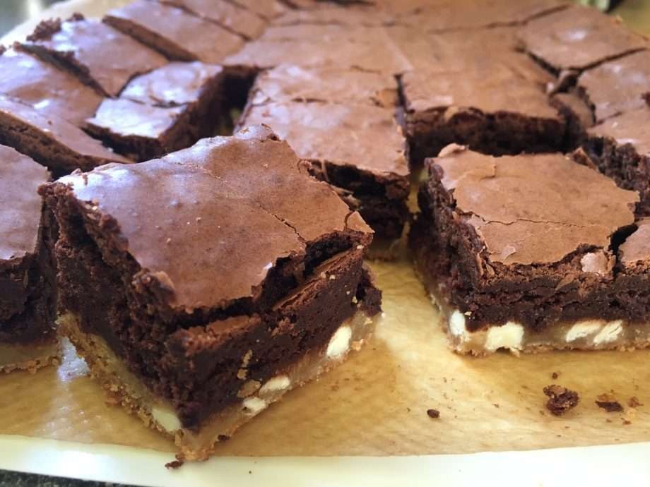 Double chocolate brownie cookie squares