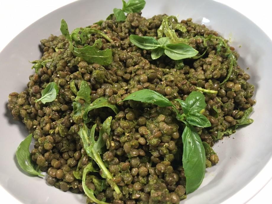 Herby green lentils