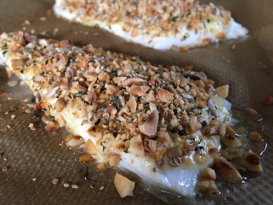 Dukkah and hazelnut-crusted halibut fillets