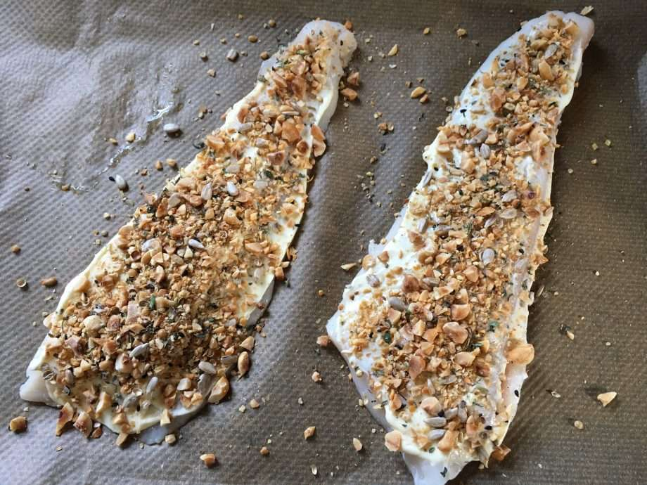 Dukkah and hazelnut-crusted halibut fillets