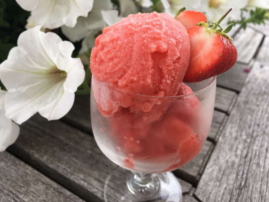 Strawberry and Aperol sorbet