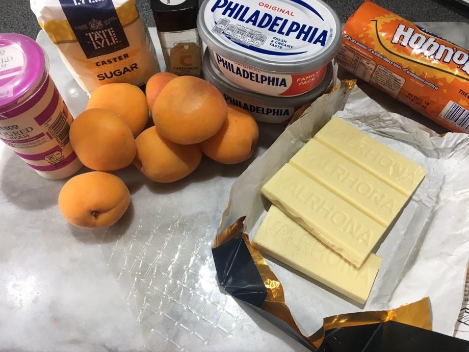White chocolate, apricot and cardamom cheesecake