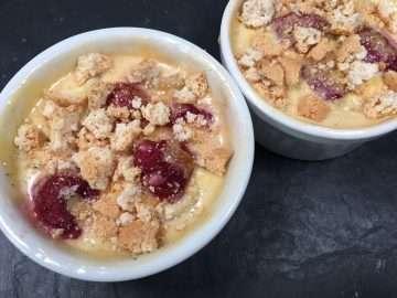 Baked nectarine and raspberry cream pots
