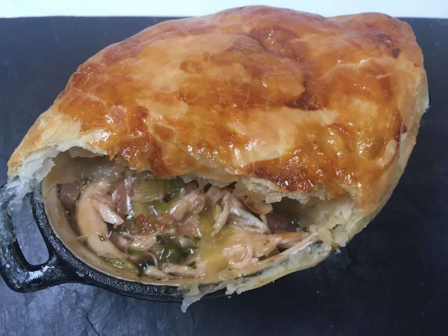 Chicken, bacon and leek pot pies