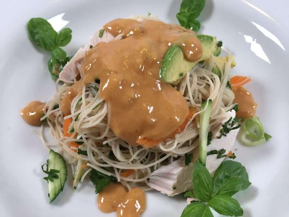 Turkey noodle salad with creamy peanut dressing