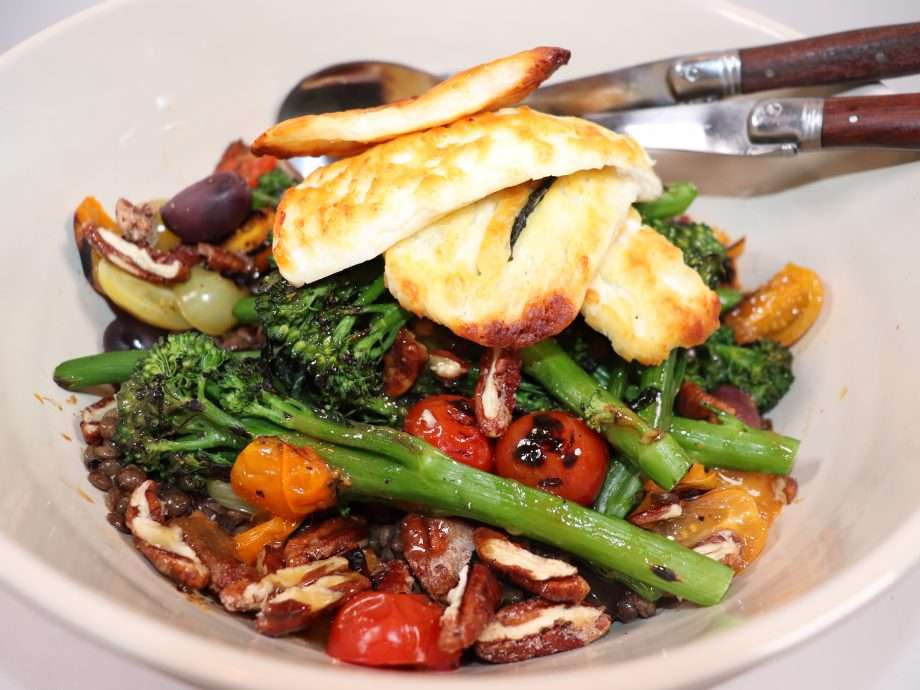 Charred Broccoli Salad with Lentils, Halloumi and Candied Pecans