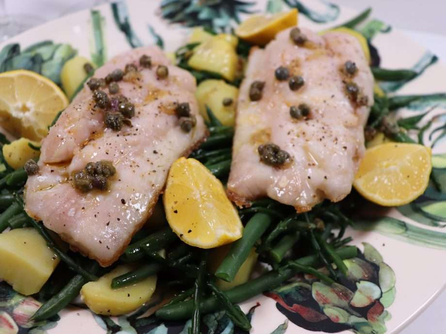 Snapper with Samphire, Bean and Potato Salad and a Garlic and Caper dressing