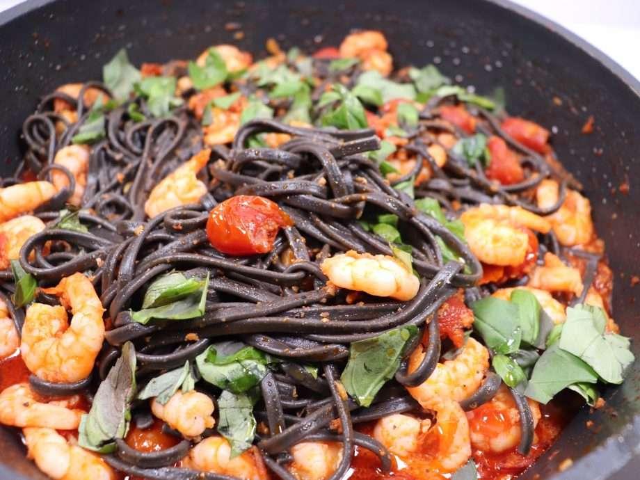 Squid Ink Spaghetti with Prawns and Sobrasada