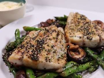 Stone Bass with Black Beans, Garlic and Stir-Fried Vegetables