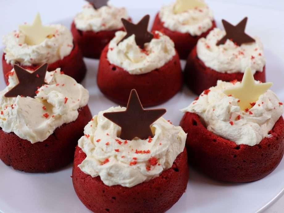 Red Velvet Nests with White Chocolate Cream