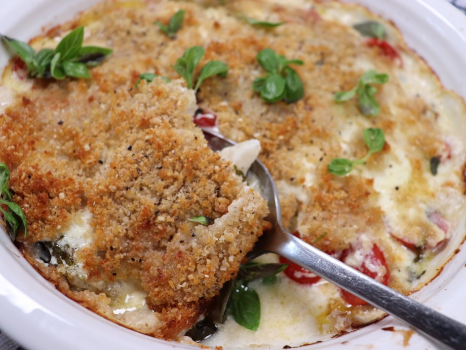 Baked Sole with Cherry Tomatoes and a Parmesan Crust