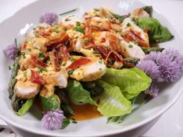 Chicken and Asparagus Salad with Egg and Bacon Dressing