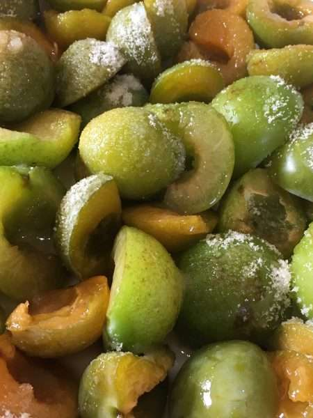 Greengage Cream with Crunchy Sugar Topping