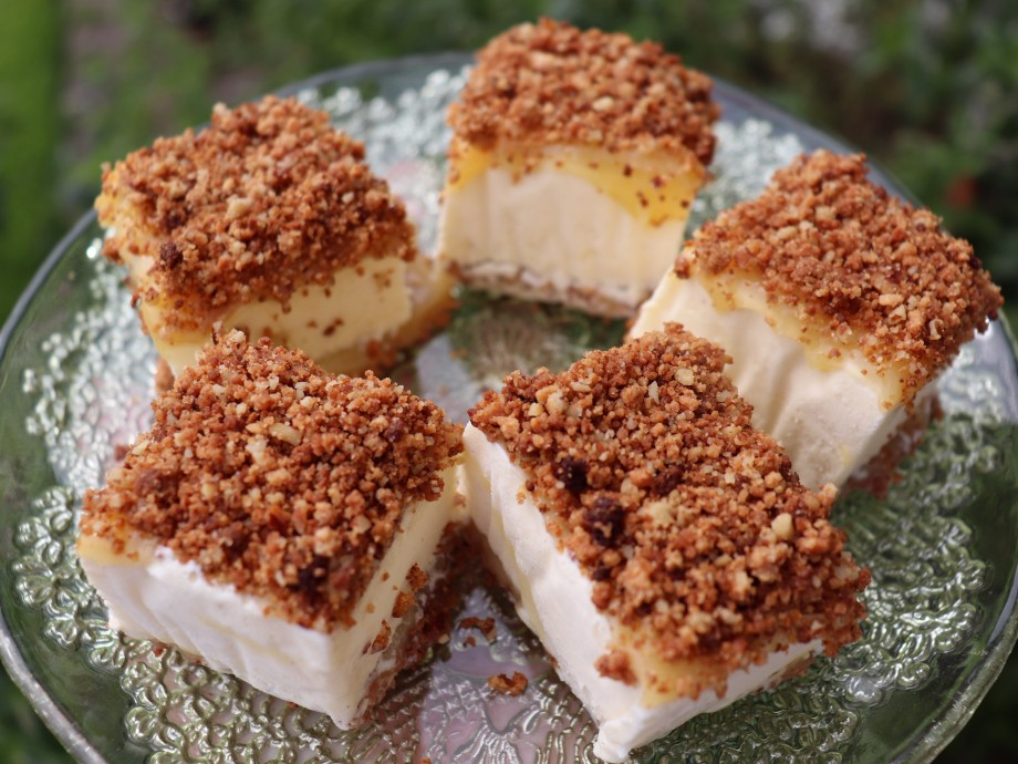 Lemon and Amaretti Crunch Ice Cream Squares