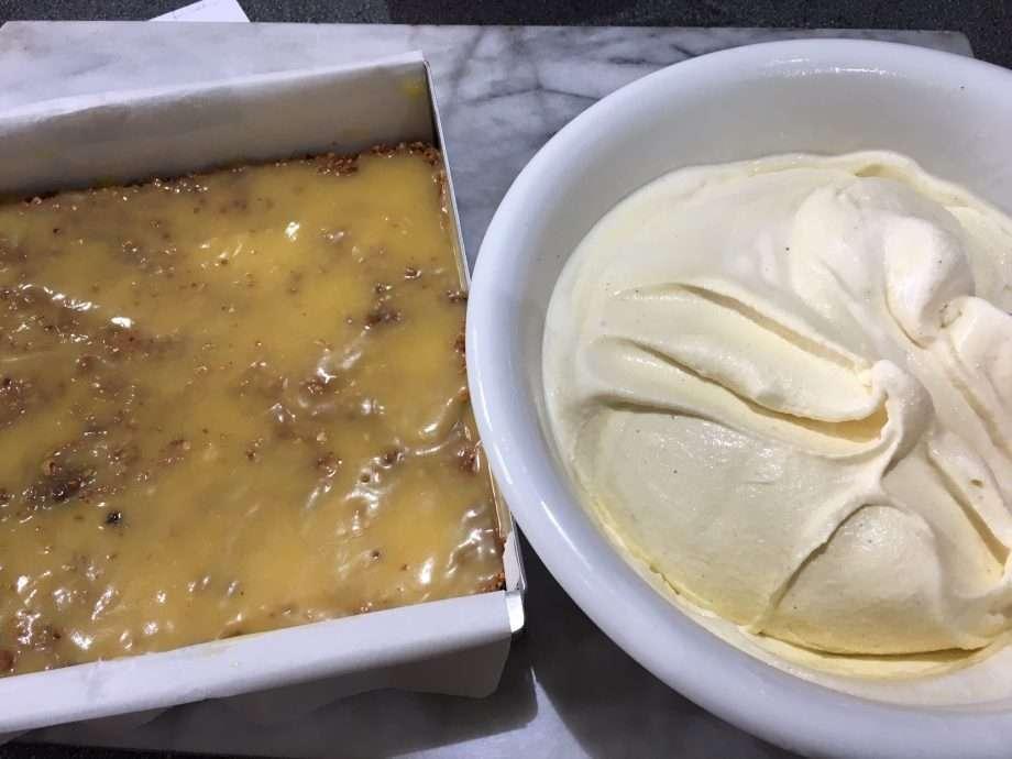 Lemon and Amaretti Crunch Ice Cream Squares