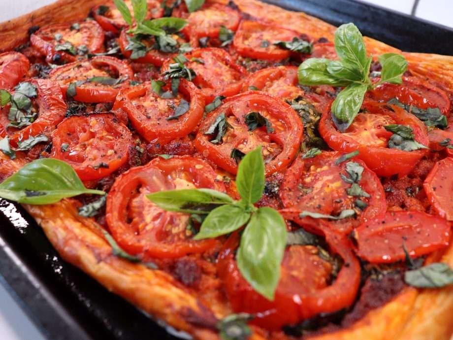 Tomato, Sobrasada and Basil Tart