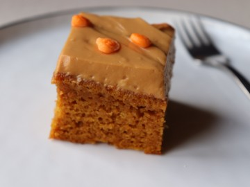 Pumpkin Sheet Cake with Salted Caramel Cream Cheese Frosting