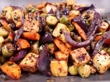 Spiced Paneer with Roasted Brussels Sprouts, Carrots and Red Onions