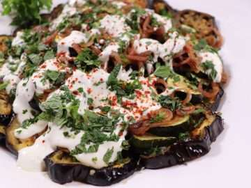 Roasted Aubergines and Courgettes with Pickled Shallots and Whipped Feta