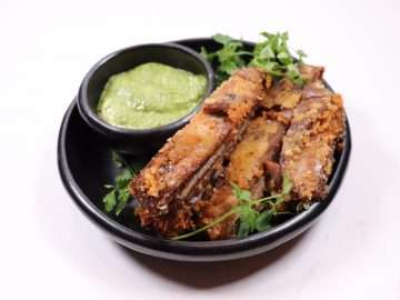 Crispy Lamb Breast with Olive, Caper and Mint Sauce