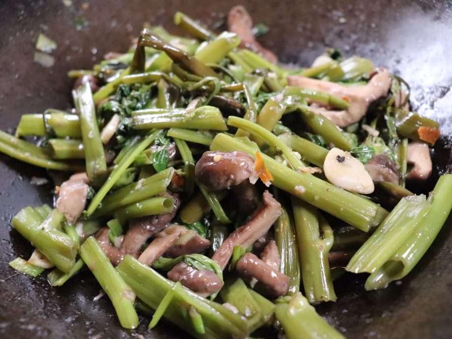 Stir-Fried Morning Glory with Shitake Mushrooms, Garlic and Chilli