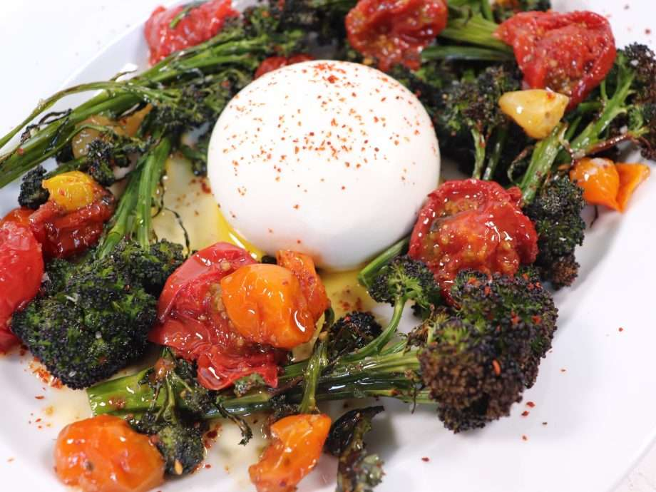 Roasted Purple Sprouting Broccoli with Burrata and Confit Tomatoes