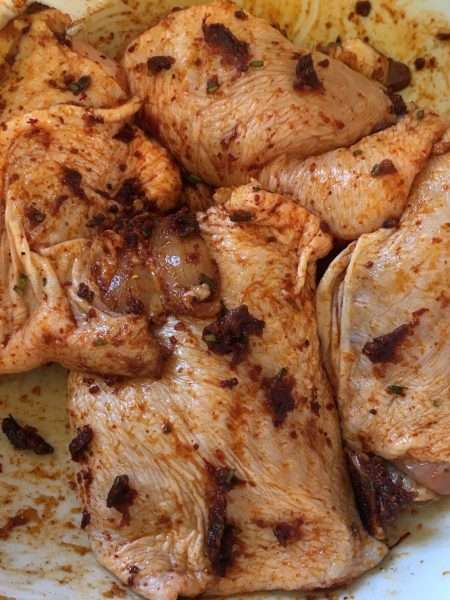 Chicken Thighs baked with Fennel, Red Onion and Sherry