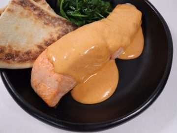 Salmon with Gochujang Hollandaise Sauce