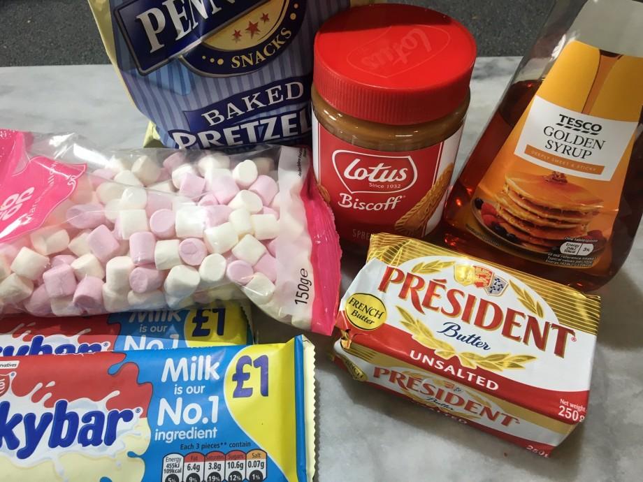 Biscoff, White Chocolate and Pretzel Rocky Road Squares