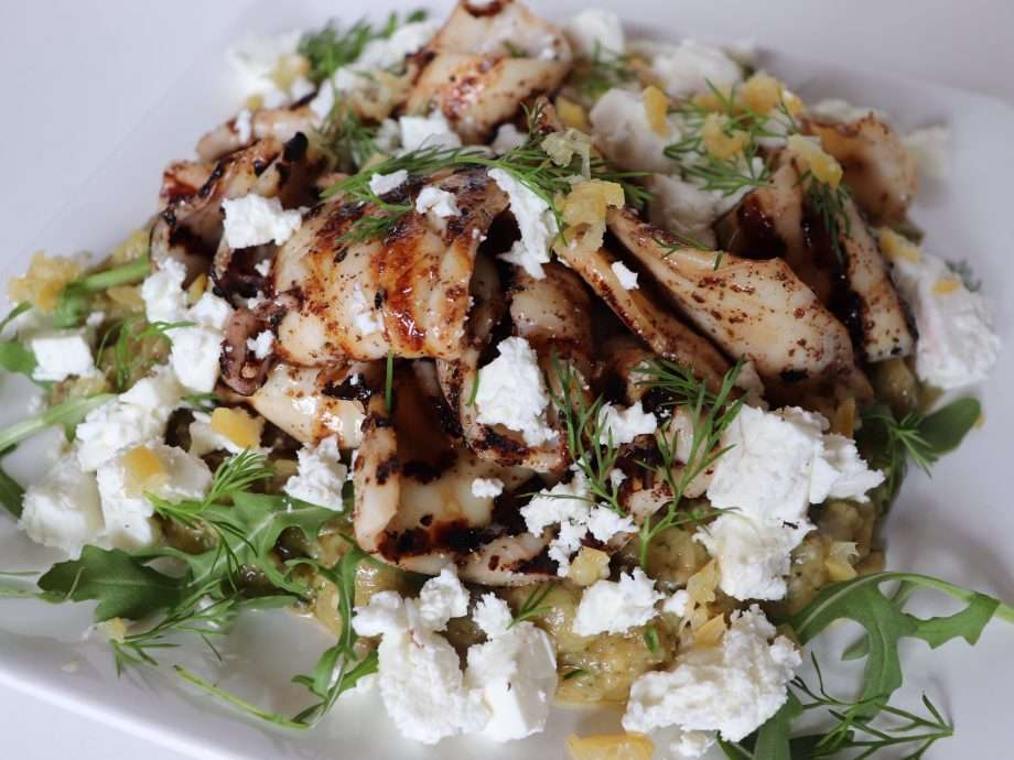 Char-Grilled Squid with Burnt Aubergine Purée, Dill and Feta Cheese