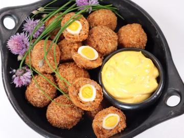 Mini Chorizo Scotch Eggs with Saffron Aioli