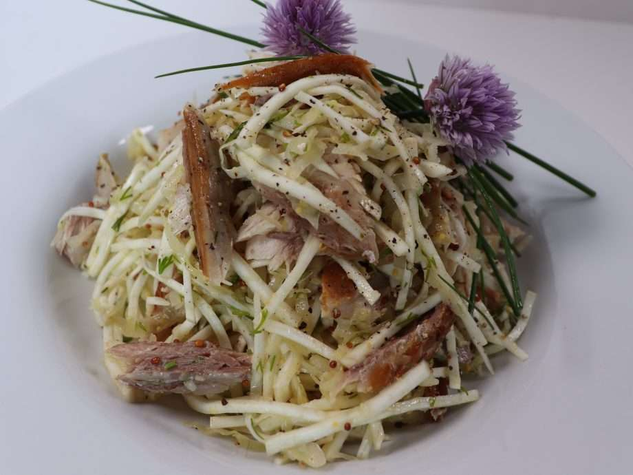 Smoked Mackerel, Celeriac and Sauerkraut Salad with Mustard and Dill Dressing