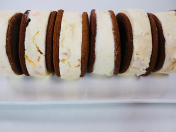 No Churn Apricot and Cardamom Ice Cream Sandwiches