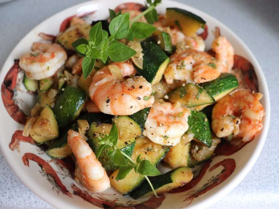 Warm Prawn and Courgette Salad with Preserved Lemon and Oregano