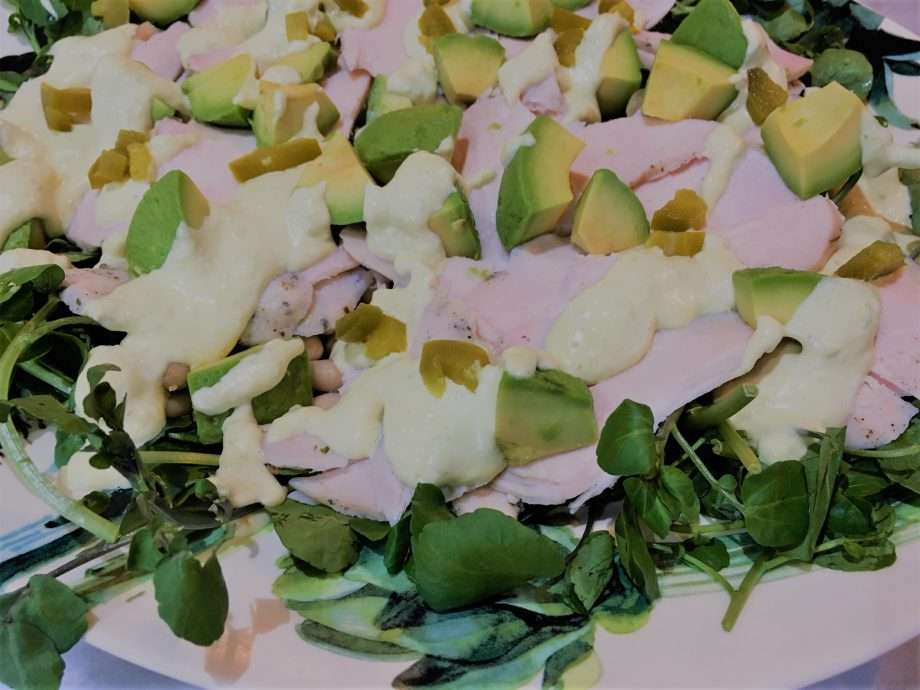 Smoked Chicken, Cannellini Bean and Avocado Salad with Pickled Jalapeño Dressing