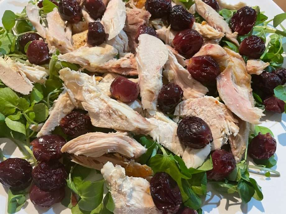 Chicken with Roasted Grapes and Curry Leaf Mayonnaise
