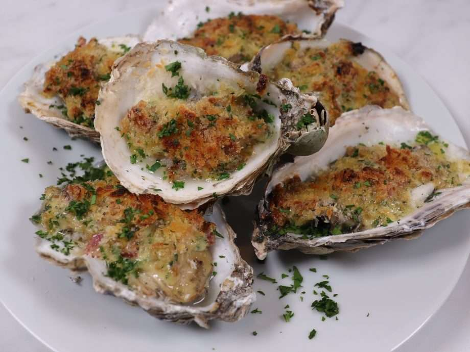 Grilled Oysters with Bacon and Shallots