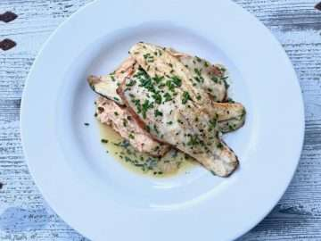 Pan-Fried Sea Bass with Crab Mash