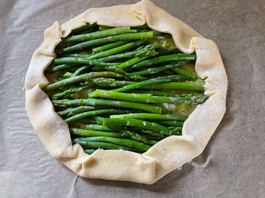 Asparagus, Pea and Leek Galette with Wild Garlic and Pistachio Pesto