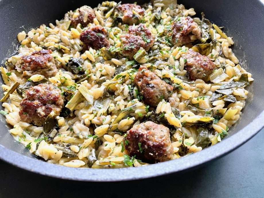 Sausage and Wild Garlic Meatballs with Chard and Orzo