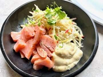 Pickled Salmon with Fennel and Apple Salad, Lime and Fennel Top Mayonnaise