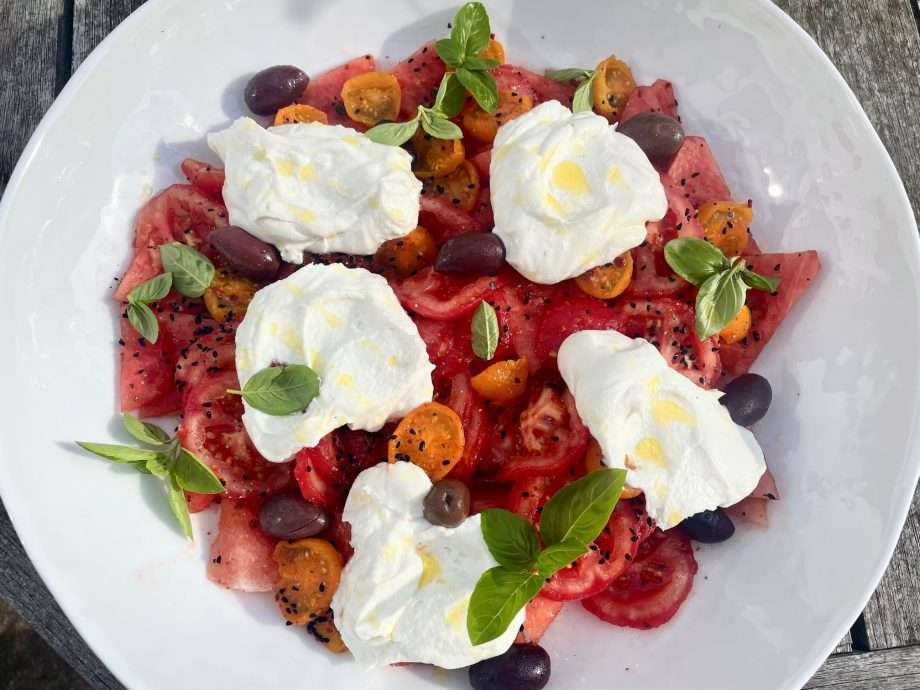 Tomato and Watermelon Salad with Whipped Goat's Cheese