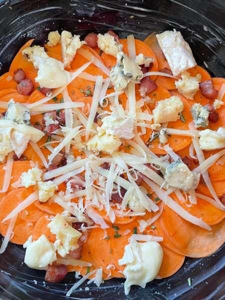 Three Cheese Sweet Potato Gratin