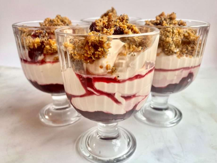 Cherry Syllabub with Poppy Seed and Ginger Crumble